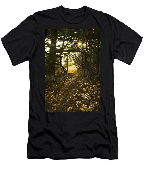 Men's T-Shirt (Slim Fit) featuring the photograph Autumn Trail In Woods by Yulia Kazansky