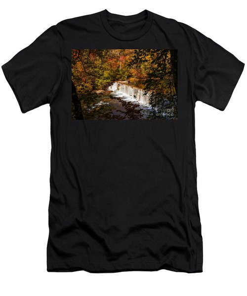 Autumn Trees On Duck River Men's T-Shirt (Slim Fit) by Jerry Cowart
