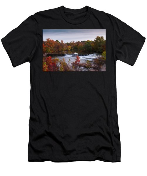 Men's T-Shirt (Slim Fit) featuring the photograph Refreshing Waterfalls Autumn Trees On The Stones River Tennessee by Jerry Cowart