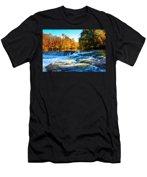 Amazing Autumn Flowing Waterfalls On The River  Men's T-Shirt (Athletic Fit)