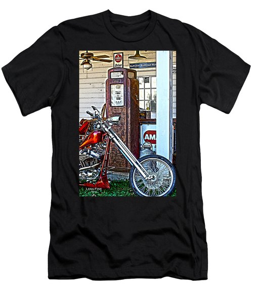 Men's T-Shirt (Slim Fit) featuring the photograph Aztec And The Gas Pump by Lesa Fine