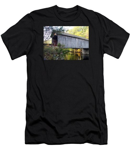 Babbs Covered Bridge In Maine Men's T-Shirt (Slim Fit) by Catherine Gagne