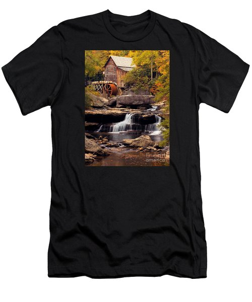 Men's T-Shirt (Slim Fit) featuring the photograph Babcock Grist Mill And Falls by Jerry Fornarotto