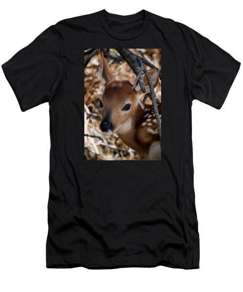 Baby Face Fawn Men's T-Shirt (Slim Fit) by Athena Mckinzie