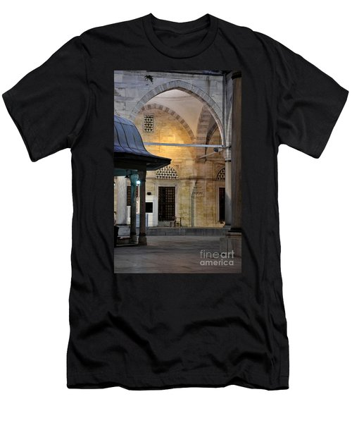 Men's T-Shirt (Slim Fit) featuring the photograph Back Lit Interior Of Mosque  by Imran Ahmed