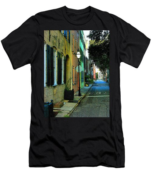 Men's T-Shirt (Slim Fit) featuring the photograph Back Street In Charleston by Rodney Lee Williams