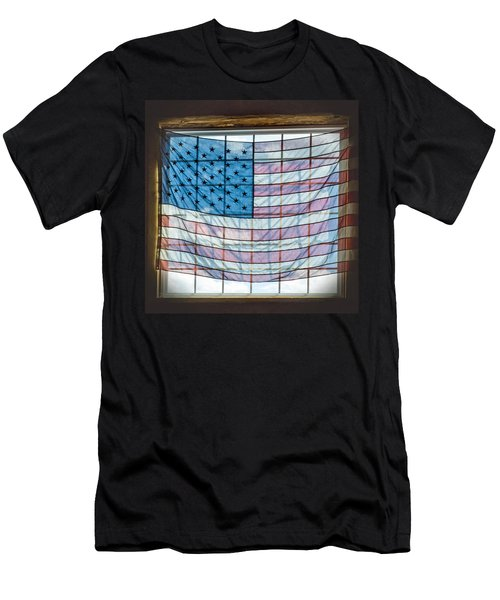 Backlit American Flag Men's T-Shirt (Athletic Fit)