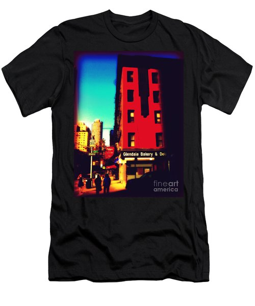 Men's T-Shirt (Slim Fit) featuring the photograph The Bakery - New York City Street Scene by Miriam Danar
