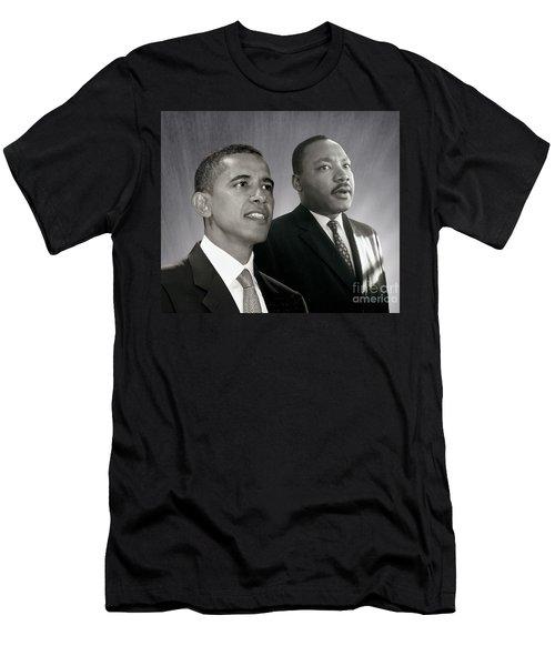 Men's T-Shirt (Slim Fit) featuring the photograph Barack Obama  M L King  by Martin Konopacki Restoration
