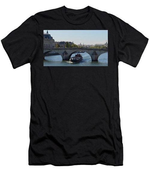 Barge On River Seine Men's T-Shirt (Athletic Fit)