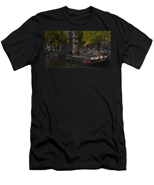 barges in Amsterdam Men's T-Shirt (Athletic Fit)