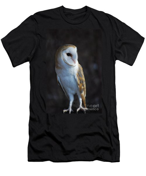 Men's T-Shirt (Slim Fit) featuring the photograph Barn Owl by Sharon Elliott