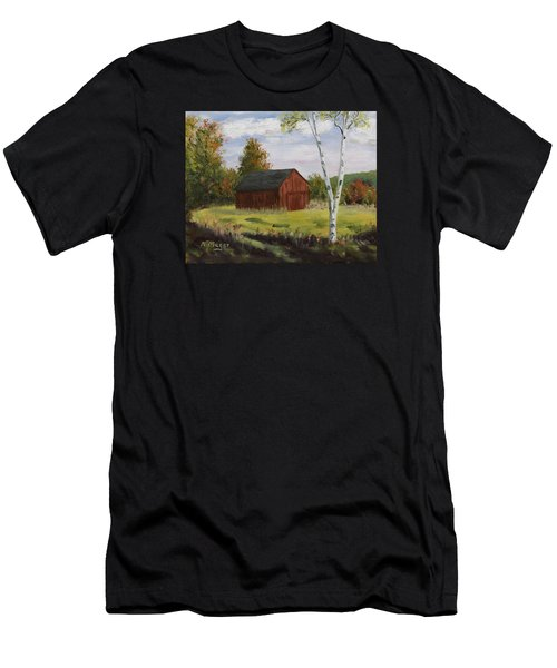 Barn With Lone Birch Men's T-Shirt (Athletic Fit)