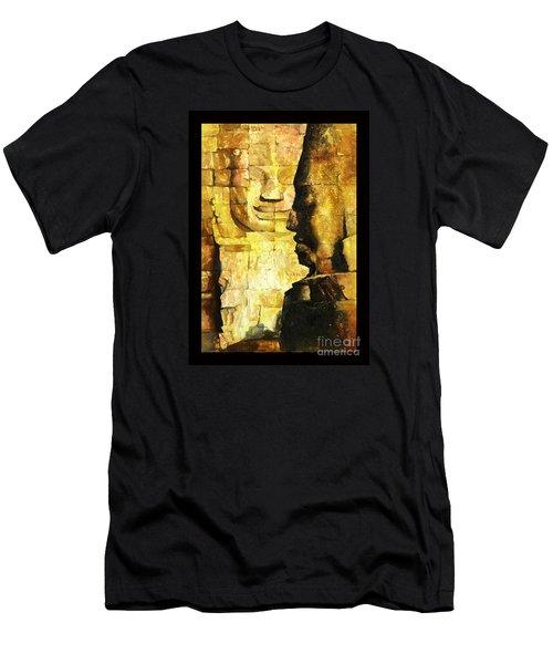 Bayon Khmer Temple At Angkor Wat Cambodia Men's T-Shirt (Slim Fit) by Ryan Fox