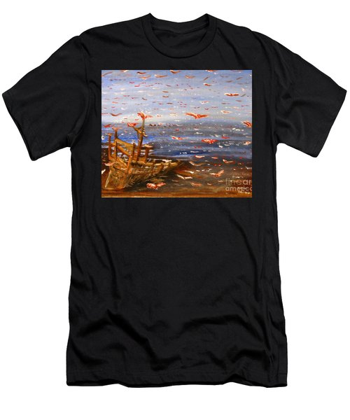 Beach Boat And Birds Men's T-Shirt (Athletic Fit)