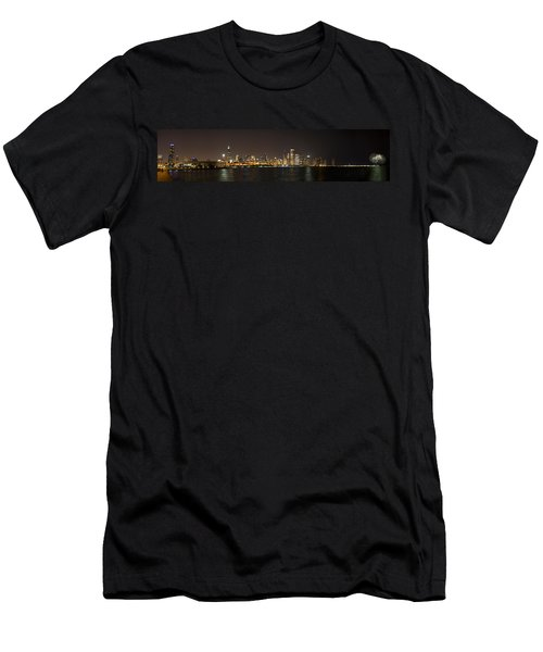 Beautiful Chicago Skyline With Fireworks Men's T-Shirt (Slim Fit) by Adam Romanowicz