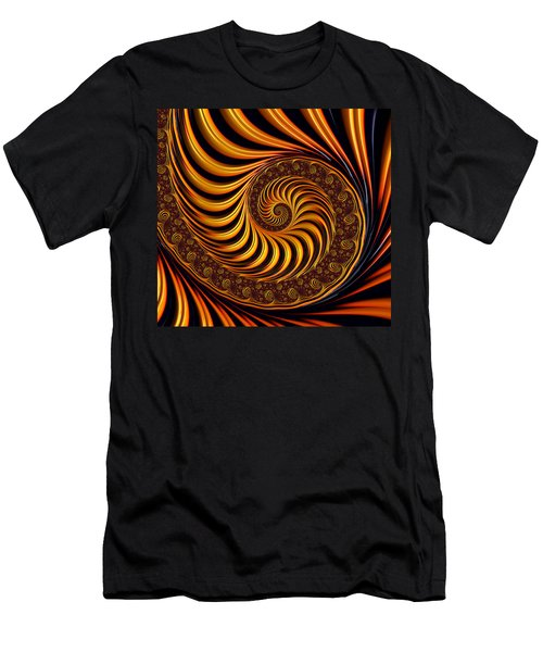 Beautiful Golden Fractal Spiral Artwork  Men's T-Shirt (Slim Fit) by Matthias Hauser