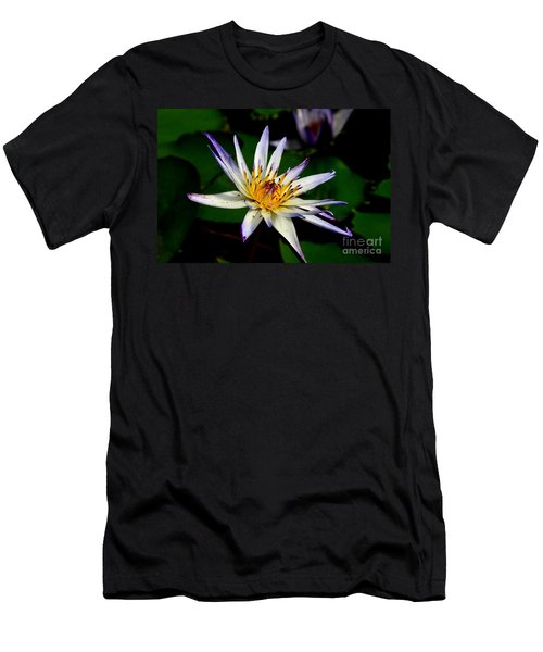 Beautiful Violet White And Yellow Water Lily Flower Men's T-Shirt (Athletic Fit)