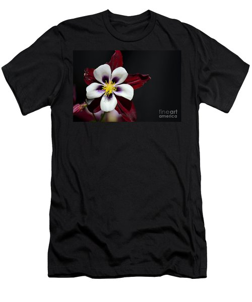 Beautiful White Petal Yellow Stamen Purple Shades Aquilegia Columbine Flower Men's T-Shirt (Athletic Fit)