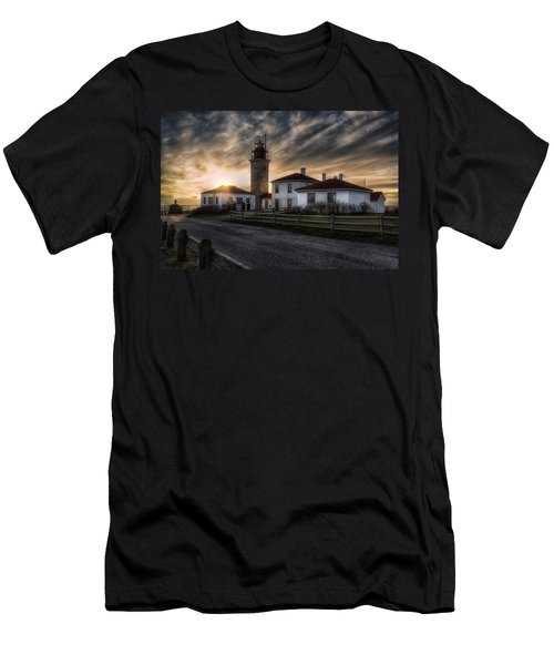 Beavertail Lighthouse Sunset Men's T-Shirt (Slim Fit) by Joan Carroll