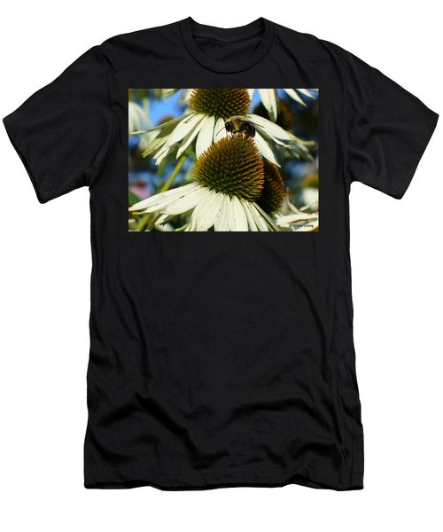 Men's T-Shirt (Slim Fit) featuring the photograph Bee On A Cone Flower by Lingfai Leung