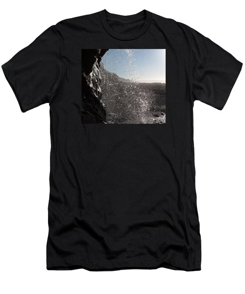 Behind The Waterfall Men's T-Shirt (Slim Fit) by Richard Brookes
