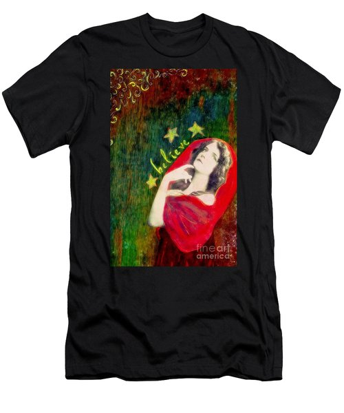 Men's T-Shirt (Slim Fit) featuring the mixed media Believe by Desiree Paquette