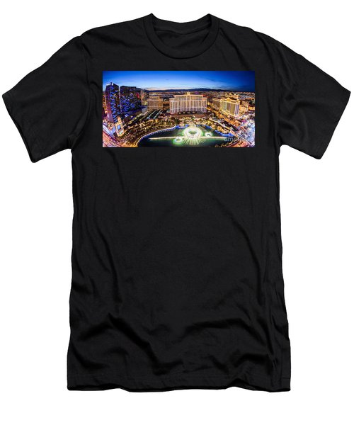 Bellagio Rountains From Eiffel Tower At Dusk Men's T-Shirt (Slim Fit) by Aloha Art