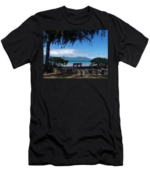 Bench Of Kaneohe Bay Hawaii Men's T-Shirt (Slim Fit) by Jewels Blake Hamrick