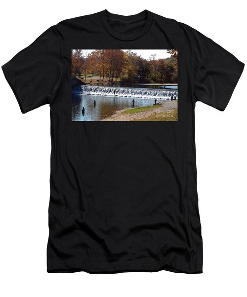 Men's T-Shirt (Slim Fit) featuring the photograph Bennett Springs Spillway by Sara  Raber