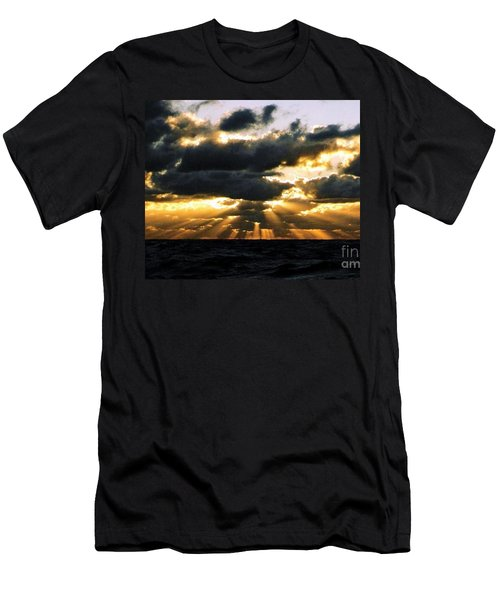 Crepuscular Biblical Rays At Dusk In The Gulf Of Mexico Men's T-Shirt (Slim Fit) by Michael Hoard