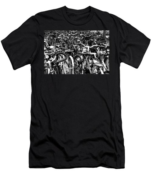 Men's T-Shirt (Slim Fit) featuring the photograph Sea Of Bicycles- Karlsruhe Germany by Joey Agbayani