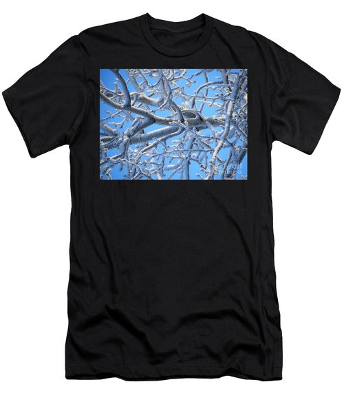 Bifurcations In White And Blue Men's T-Shirt (Slim Fit) by Brian Boyle