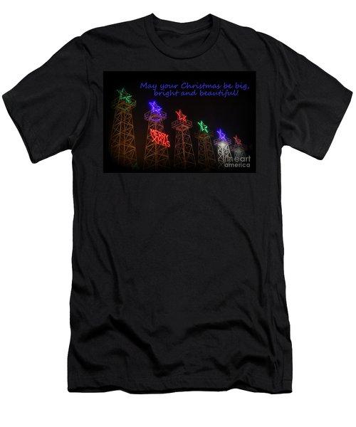 Big Bright Christmas Greeting  Men's T-Shirt (Slim Fit) by Kathy  White