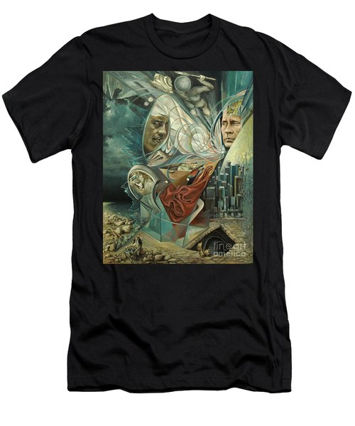 Men's T-Shirt (Slim Fit) featuring the painting Big Game Or Silence Is Gold by Mikhail Savchenko
