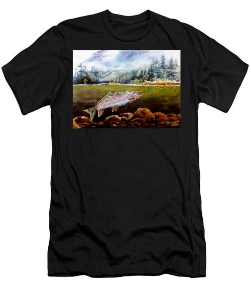 Men's T-Shirt (Slim Fit) featuring the painting Big Thompson Trout by Craig T Burgwardt