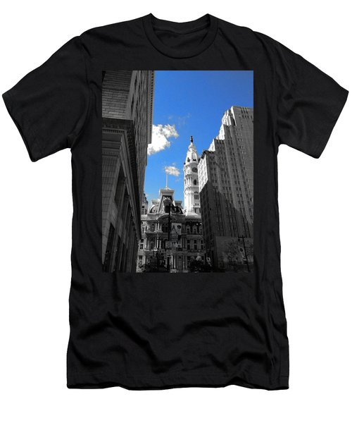 Men's T-Shirt (Slim Fit) featuring the photograph Billy Penn Blue by Photographic Arts And Design Studio