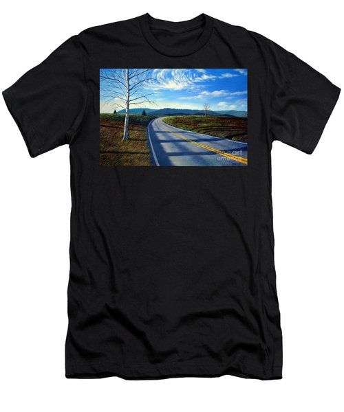 Birch Tree Along The Road Men's T-Shirt (Athletic Fit)