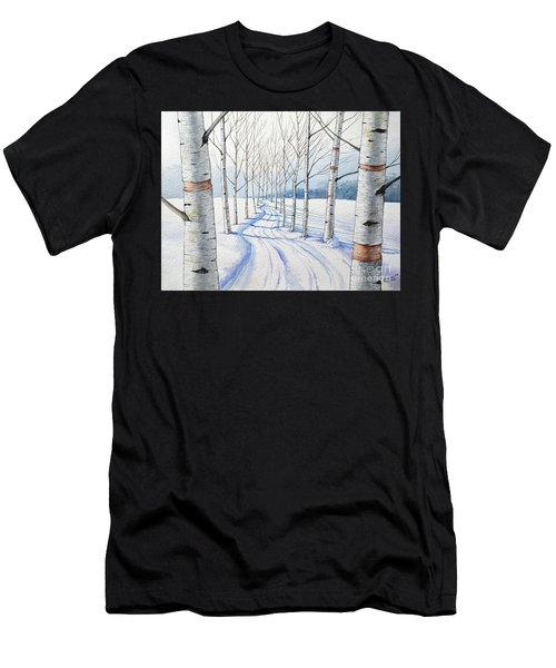 Birch Trees Along The Curvy Road Men's T-Shirt (Athletic Fit)