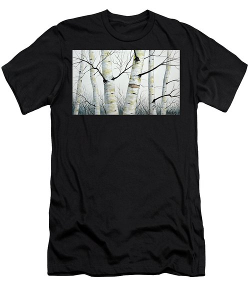Birch Trees In The Forest By Christopher Shellhammer Men's T-Shirt (Athletic Fit)