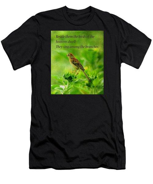 Bird In A Sunflower Field Scripture Men's T-Shirt (Athletic Fit)