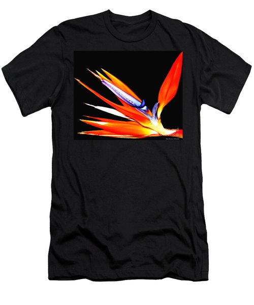 Men's T-Shirt (Slim Fit) featuring the photograph Bird Of Paradise Flower With Oil Painting Effect by Rose Santuci-Sofranko