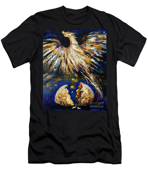 Men's T-Shirt (Slim Fit) featuring the painting Birth Of The Phoenix by Karen  Ferrand Carroll