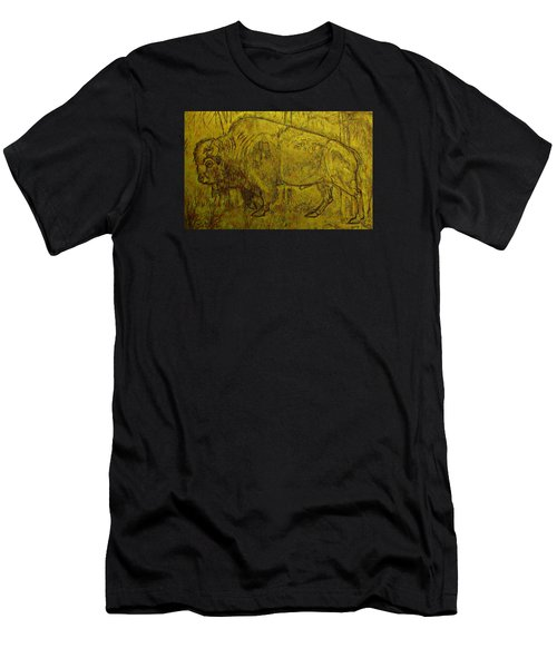 Men's T-Shirt (Slim Fit) featuring the drawing Golden  Buffalo by Larry Campbell