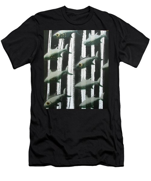 Men's T-Shirt (Athletic Fit) featuring the painting Black And White Fish by Joan Stratton