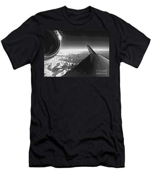 Men's T-Shirt (Slim Fit) featuring the photograph Jet Pop Art Plane Black And White  by R Muirhead Art