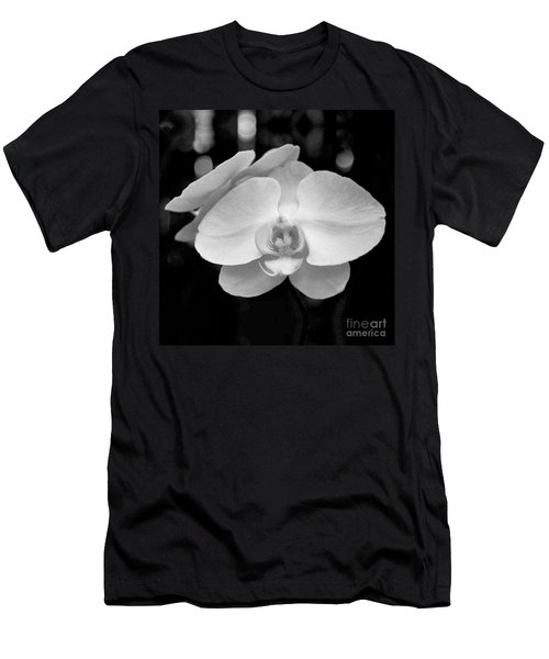 Black And White Orchid With Lights - Square Men's T-Shirt (Athletic Fit)