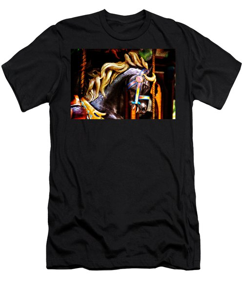 Black Carousel Horse Men's T-Shirt (Athletic Fit)