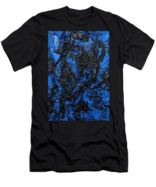 Black Cracks With Blue Men's T-Shirt (Athletic Fit)