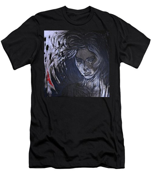 Men's T-Shirt (Slim Fit) featuring the painting black portrait 16 Juliette by Sandro Ramani